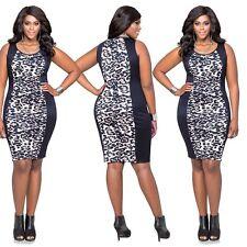 Ladies Plus Size 3XL/XXXL Black/ Leopard Stretch Club Party Summer Tank Dress