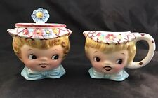 Vintage Miss Dainty ESD Lefton Hand Painted 6820 Cream and Sugar Set
