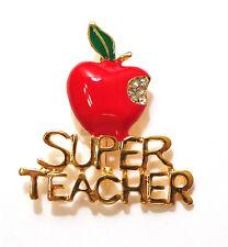 w Bite Taken Rhinestones Brooch Pin Teacher Appreciation Super Teacher Red Apple