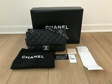 PRE-OWNED CHANEL Medium Easy SINGLE FLAP BLACK QUILTED CAVIAR LEATHER SILVER HW