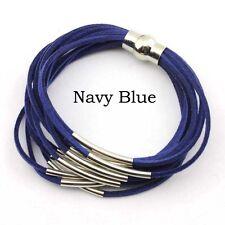 Velvet Leather Silver Tone Copper Tube Multi Layered Strand Magnet Wrap Bracelet