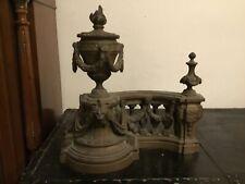 # Chenets De Style Louis XVI En Bronze XIXeme  tête de lion et flambeau