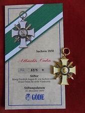 GÖDE Orden Sachsen 1850 - Albrechts Orden + Zertifikat Nr.6375