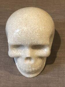 Vintage Halloween Heavy Marble Glass Life-Size Skull Object Pottery Barn 1990's