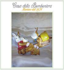 BOMBONIERA BATTESIMO COMUNIONE CRESIMA  FAMIGLIA CONIGLIETTI  CM.24X17 H.