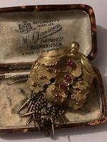 Victorian Georgian Pinchbeck or Gilt Metal Brooch tassel Almandin Garnet Paste