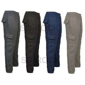 Mens Running Gym Ribbed Cargo Pockets Combat Jogging Pants Bottoms Trousers
