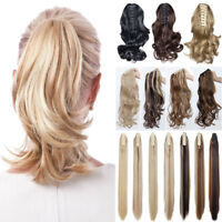 12'' Short Wavy Claw Jaw Clip In On Hairpiece Ponytail Hair Extension Blonde fya