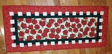 Handmade Quilted Table Runner in Christmas red, green, cream and gold metallic