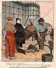 CONSTRUCTION BASTILLE PARIS BOURGEOIS ROUBILLE HUMOUR 1919 PRINT