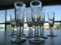 "Vintage 4"" Etched Glass Cordial Glasses Set Of 10"