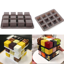 12 Holes Rubik's Cube Square SiliconeCake Decor Mold DIY Chocolate Cake Ice Mold
