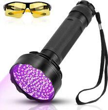 Torcia UV 100 LEDs Lampada Ultravioletti Professionale e Occhiali UV