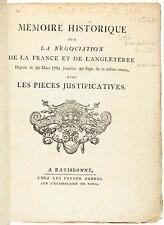 Memoire Historique sur la Negociation de la France et de l' Angleterre...1761