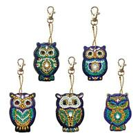 5pcs 5D DIY Diamond Painting Key Chain Keyring Handmade Pendant Key Ring Gift