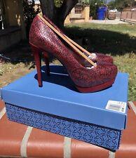 SIMPLY VERA WANG - Red Snake Print Heels - Size 6.5
