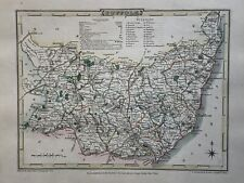 1808 Suffolk Original Antique Hand Coloured County Map by Cole & Roper