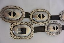 OLD Heavy 8+ozt Navajo CONCHO BELT buckle Coin Silver Stamped Revival X Sterling