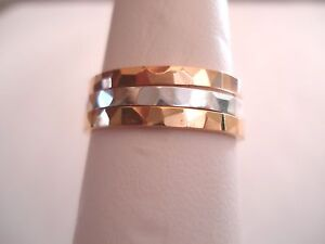 2 MM. Hammered  10 K.&14 K. Solid Gold Band or Stacking Ring Handmade in U.S.