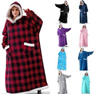 New Winter Warm Oversized Long Flannel Fleece Wearable Blanket Hooded Sweatshirt