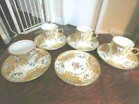 Aynsley England Set Of 4 Demitasse Flat Cups & Saucers Gold & Flowers Antiques