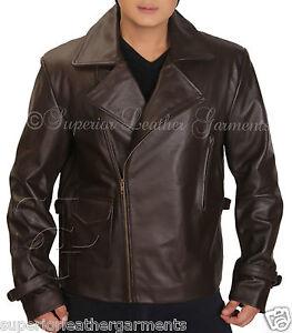 First Avenger Captain America Cow Hide Brown Biker Leather Jacket Chris Evans