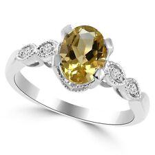 Yellow Citrine Diamond 14k White Gold Engagement Cocktail Ring Vintage Antique