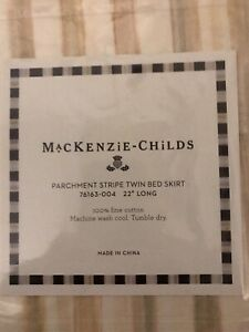 Mackenzie CHILDS PARCHMENT Stripe Twin Bed Skirt Fabric  - New & Rare - 2 avail
