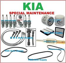 FOR 03-06 KIA SORENTO V6-3.5L TUNE UP KITS: SPARK PLUGS WIRE SET BELTS &  FILTER