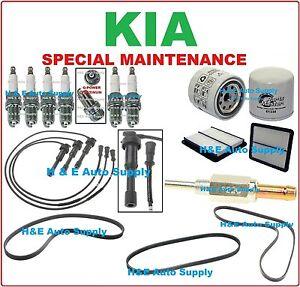FOR 03-06 KIA SORENTO V6-3.5L TUNE UP KITS: SPARK PLUGS WIRE SET BELTS &  FILTER