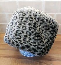John Lewis Women Grey Black Super Soft Faux Fur Leopard Print Lined Winter Hat