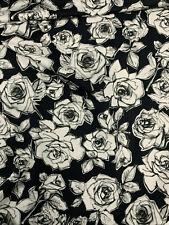 5 Mètres Noir Roses Imprimé 100% Coton Popeline Tissu