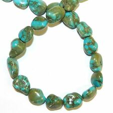 NG2083f Blue-Green Turquoise Medium 10mm - 15mm Pebble Nugget Magnesite Bead 15""