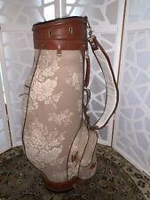 Golf Club Bag Beige W/ Brown Leather Trim RARE Vtg Bloomingbags RARE & Beautiful