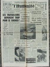 L'Humanité - (7 janv 1964) Télescopage Autoroute Sud - Equipement Région Paris