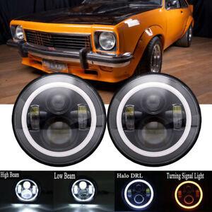 """7"""" LED Headlights Black Halo For Holden Torana GTR XU1 A9X SLR5000 LH LX LJ"""