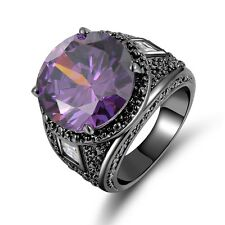 Fashion Size 8 Amethyst 18K Black Gold Filled Mens Wedding Engagement Rings