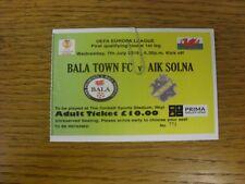 07/07/2016 BIGLIETTO: Bala Town V AEREI DI LINEA SOLNA [UEFA EUROPA LEAGUE]. bobfrankandelvis