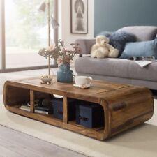 Massiver Couchtisch Holz Sheesham Wohnzimmertisch Ablage 120 cm TV-Lowboard
