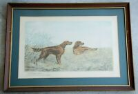 LEON DANCHIN Irish Setters Hunting Dogs Antique 1938 Hand Signed Colored Etching