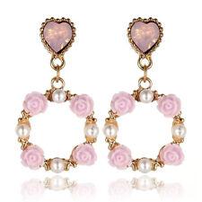 Boho Women Square Flower Pearl Pendant Dangle Drop Earrings Statement Jewelry
