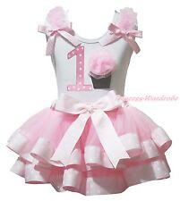 Easter Birthday 1ST 2ND Cupcake White Top Pink Dots Satin Trim Skirt Girls NB-8Y