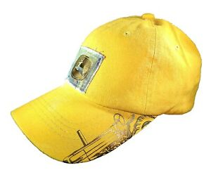 John Deere Yellow Hat / Cap with Deer Logo on Camo Patch Trackto on Bill