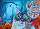 ACEO Original Cat Mouse Owl Halloween Casein Miniature Landscape Painting Art