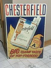 VINTAGE ORIGINAL METAL SIGN CHESTERFIELD CIGARETTE SIGN BIG CLEAN TASTE,OLD NICE
