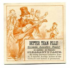 Victorian Trade Card GERMAN LAXATIVE TONIC remedy cure man playing guitar