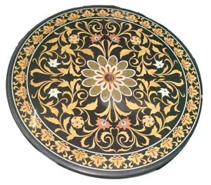 """36"""" Marble round dining coffee Table Top marquetry inlay handmade art work"""