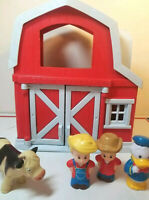 Little people farmers cow Green Toys Farm Barn Playset figures fisher price red
