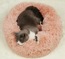 Pet Dog Cat Calming Bed Round Nest Warm Soft Plush Comfortable Sleeping Washable