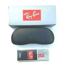 Ray Ban Hard Case Eyeglasses Case Sunglasses Case Black Leather & Cleaning Cloth